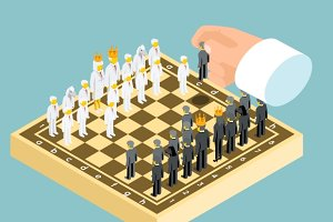 Isometric 3d business chess figures