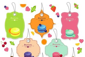Tasty french macaroons badges