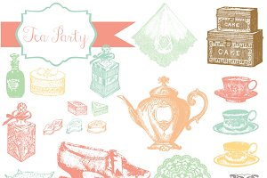 Tea Party Vintage Clipart & Brushes