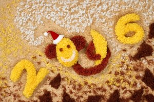 New Year 2016. Christmas.Monkey banana, decoration