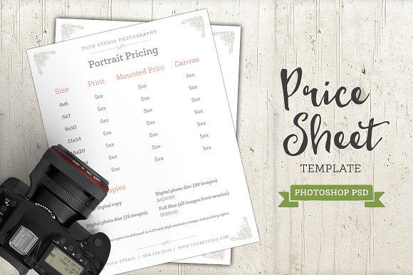 photography price sheet template psd templates creative market