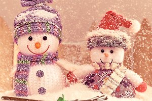 New Year 2016. Christmas.Snowmen friendship.Retro
