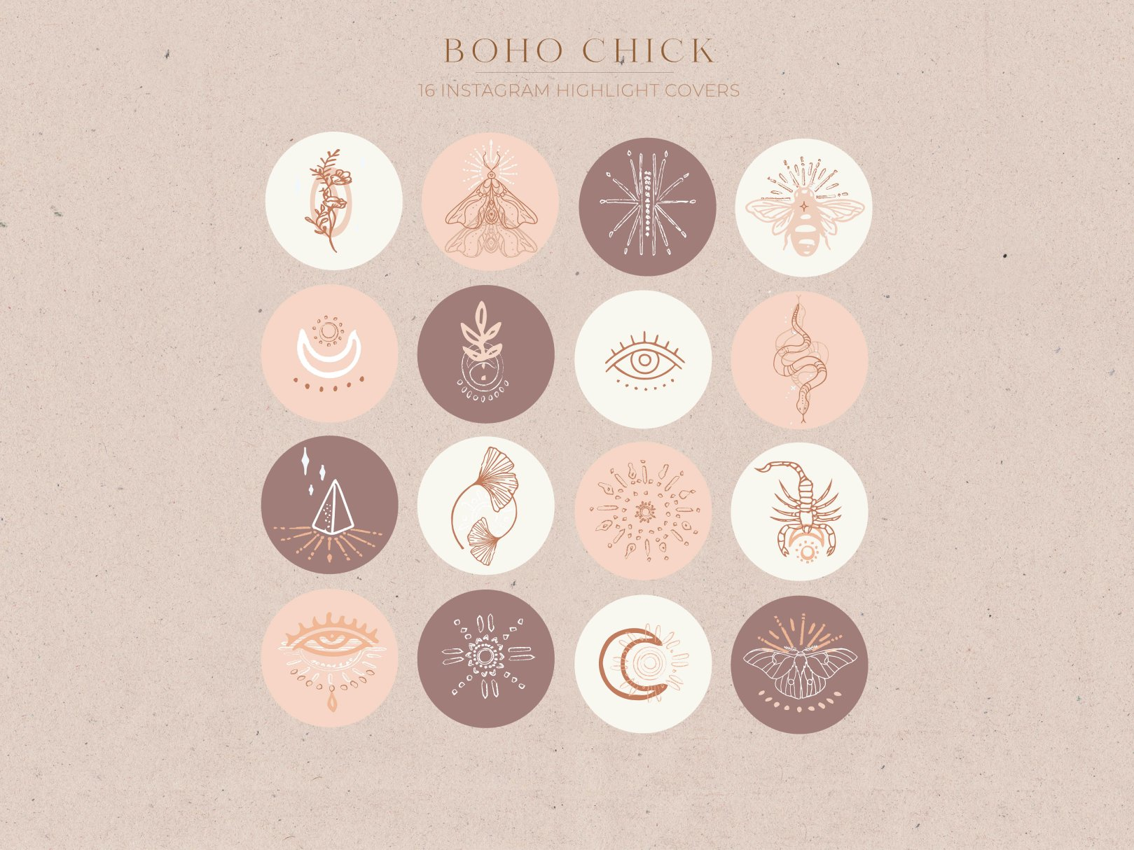 Boho Instagram Story Highlight Icons Creative Instagram Templates Creative Market Try using highlight cover maker for creating attractive and appealing highlight covers. boho instagram story highlight icons