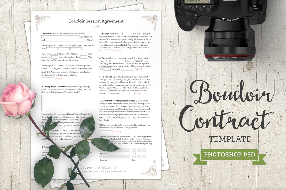 boudoir contract agreement template templates creative market