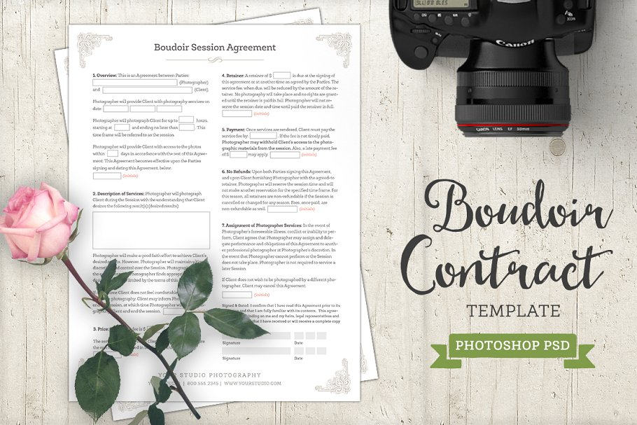 boudoir contract agreement Template
