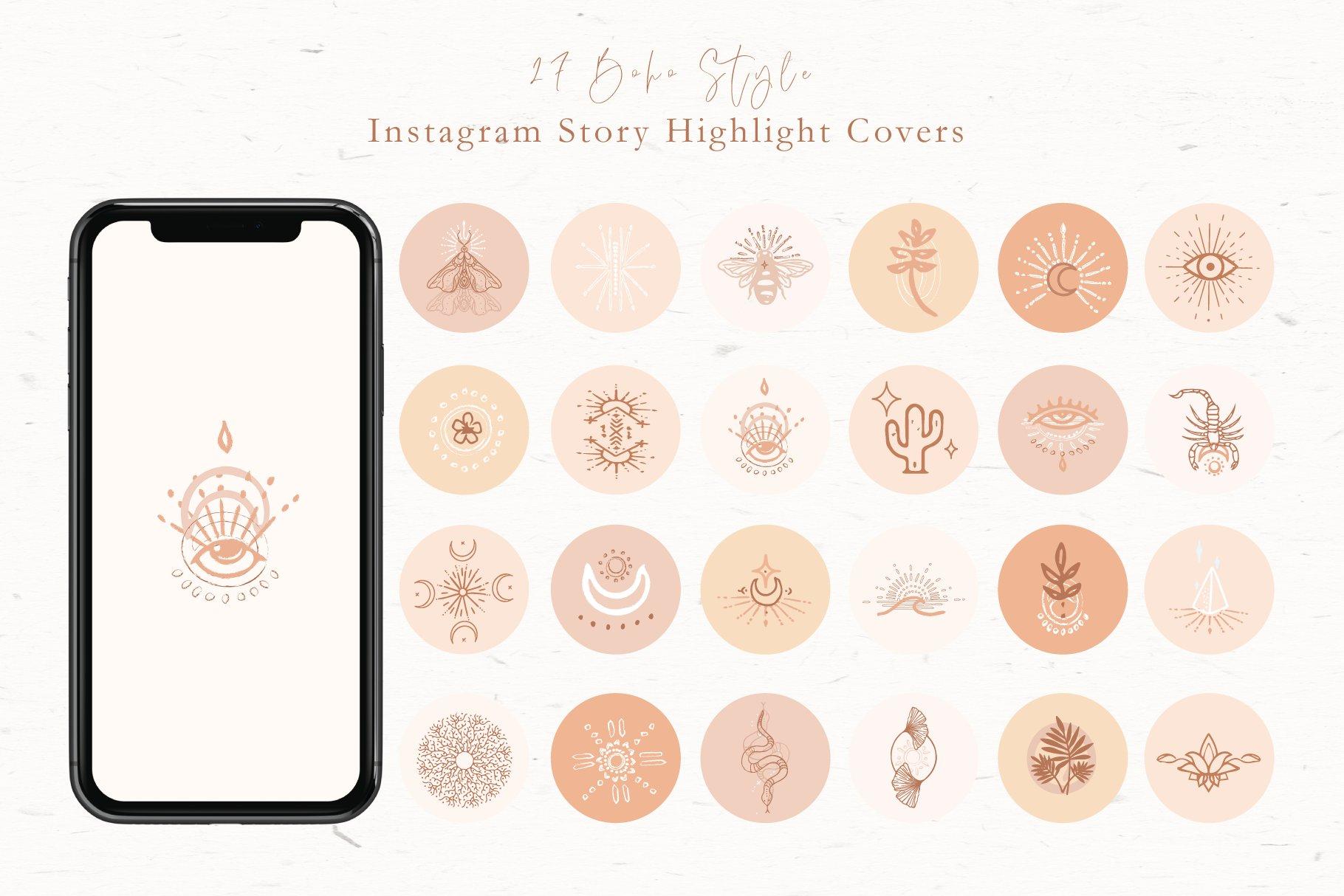 Boho Instagram Highlight Covers Creative Instagram Templates Creative Market