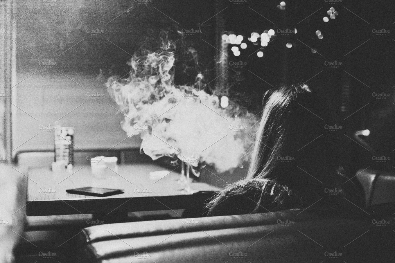 Girl Smoking Hookah Drawing