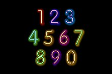 Numerical figures in sparkling neon