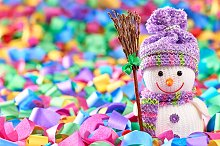 New Year 2016. Happy Snowman,decorat