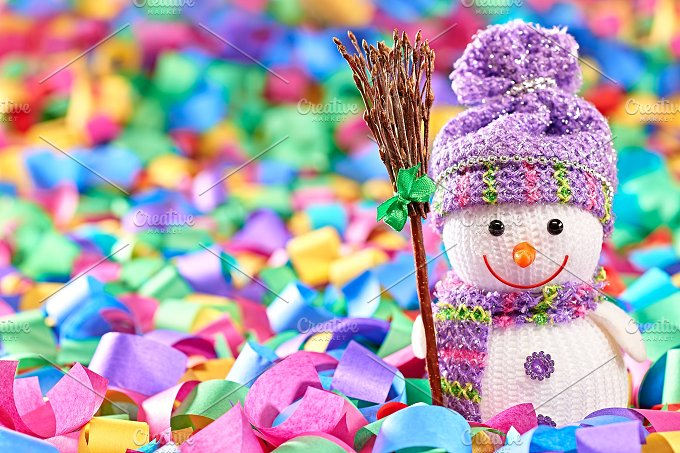 New Year 2016. Happy Snowman,decorat - Arts & Entertainment