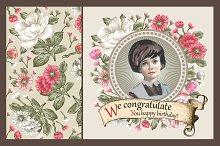 Set. Girl. Flowers. Greeting card.