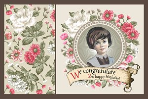 Set. Girl. Flowers. Greeting card.