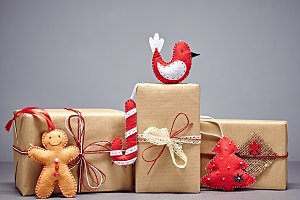 Gift boxes handcraft stack, Christma