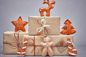 Gift boxes handcraft stack, gingerbr