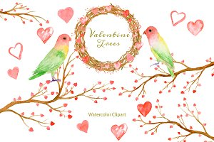 Watercolor Clipart Valentine Trees