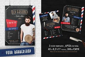 3 Barber Shop Flyer Templates