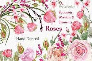 Watercolor roses clipart