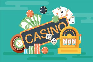 Casino horizontal banner with poker