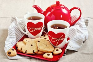 Cookies and tea. St. Valentine's day