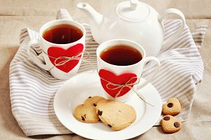 Cookies in heart shape & tea