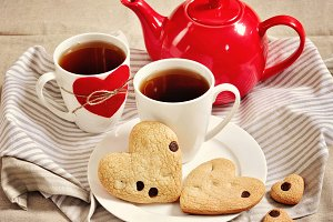 Cookies & tea. Hearts. Valentine's