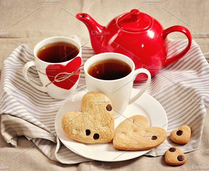 Cookies & tea. Hearts. Valentine's - Food & Drink
