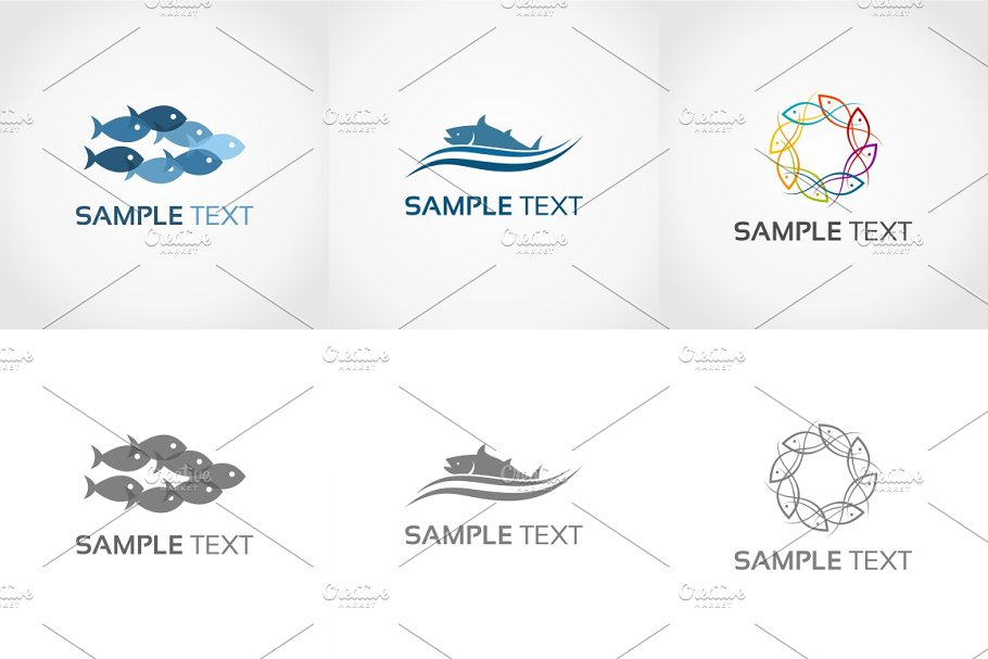 b5b9e6bec7f5e Fish ~ Logo Templates ~ Creative Market