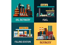 Filling stations and oil refinery fl