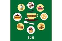 Tea flat infographic with dessert ic