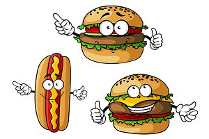Appetizing hamburgers and hot dog ca