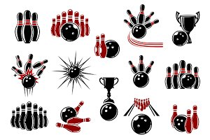 Bowling symbols with equipment