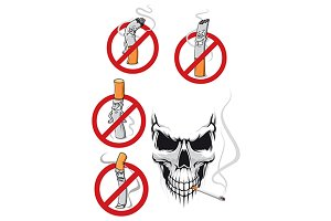 Cartooned smoking kills and no smoki