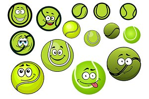 Green cartoon tennis balls