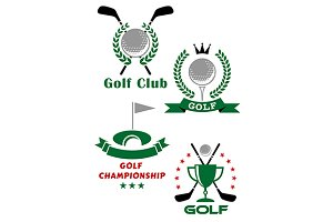 Golf game emblems with equipments an