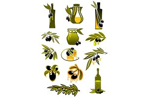 Olive and oil bottles with branches