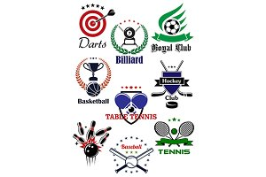 Heraldic sport badges and icons
