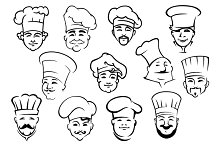 Multiethnic chefs and baker in toque