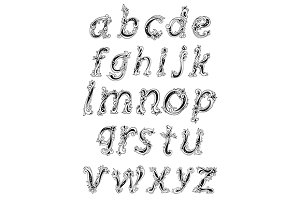 Alphabet with lowercase floral lette