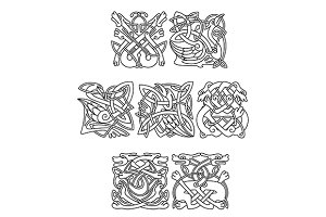 Celtic animals and birds with tribal