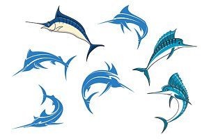 Blue marlins or swordfishes