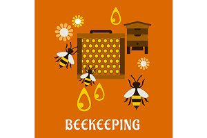 Flat beekeeping concept with beehive