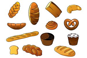 Cartoon kinds of bread and bakery