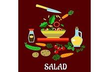 Flat concept of vegetable salad