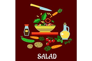 Flat concept of vegetable salad