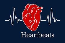 Human heart with white heartbeats ca