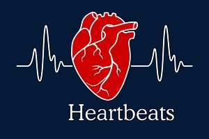 Human heart with white heartbeats ca
