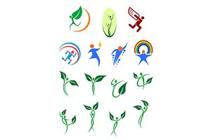 Eco people and environment icons