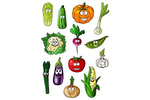 Cheerful cartoon various vegetables