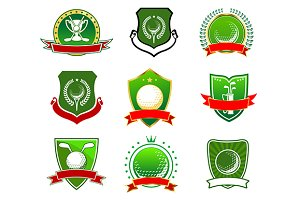 Golf sport emblems and logos