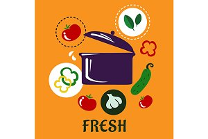 Fresh food concept depicting pan wit